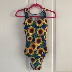 NEW! JRs medium Sunflower one piece bathing suit